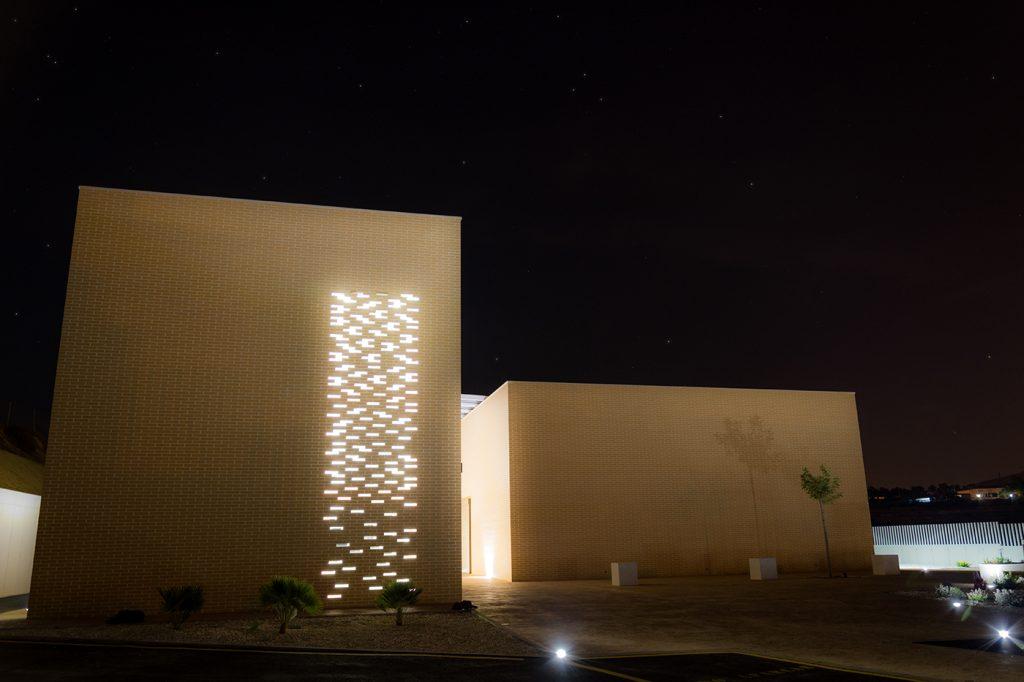 Fachada, Ladrillo, Arquitectura, Tanatorio, Monovar, Alicante, Arze, Proyecto, Iluminación, Celosía